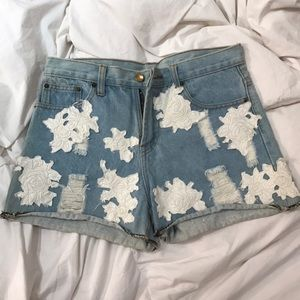 High Waisted Jean Shorts With Rose Detailing
